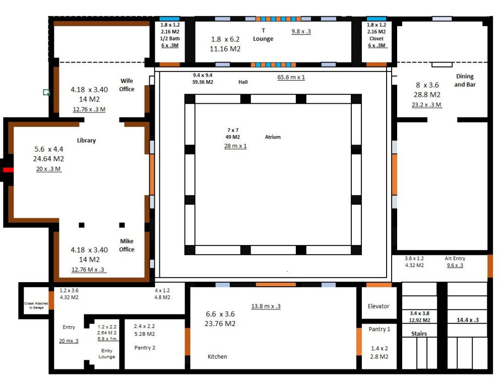 The 7 meter atrium floor plan and cost estimate project riad for Homes with atriums floor plans